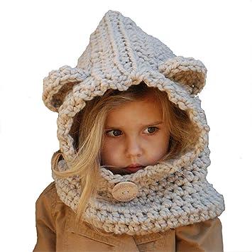 17583d7c2667f Invierno Cálido con Capucha Bufanda Sombrero De Punto Oso De Dibujos  Animados Oso Lana Protección para