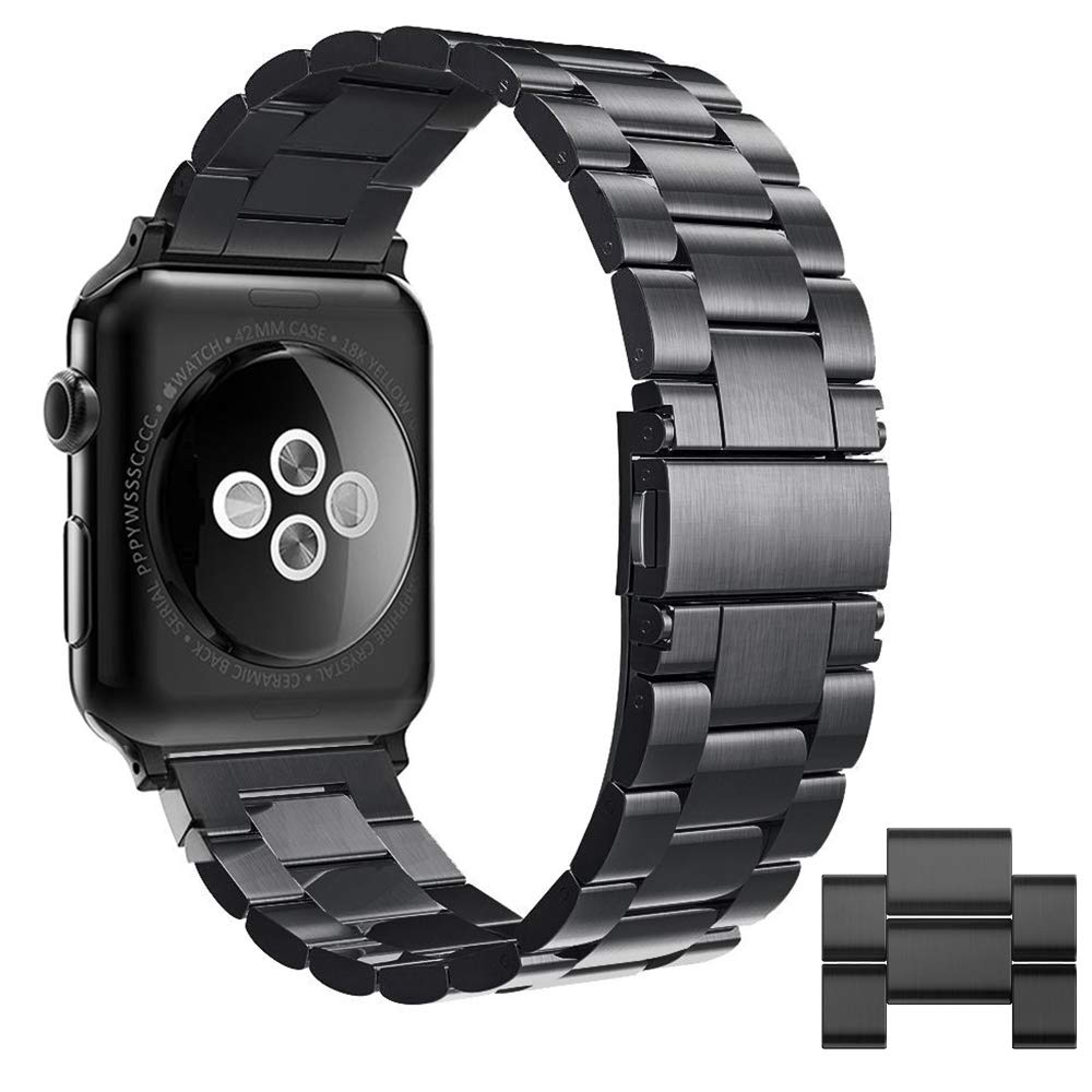 Simpeak Compatible for Apple Watch 5 Band 42mm/44mm, Adjustment Stainless Steel Band for 42mm iWatch Series 5 4 3 2 1 Band, with Tool and 2pcs Links, Black for Men