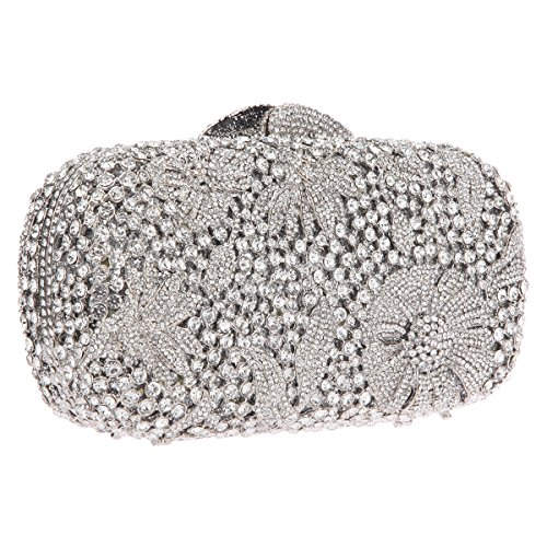 Studded Ab Gold Bonjanvye Crystal Silver Bling Clutch Purse Bags Evening Cocktail Flower pg5qw7