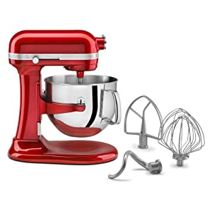 KitchenAid Professional 7-Quart Super Big Biggest Capacity Large KSM7581CA 7-Quart Bowl Largest Lift Stand Mixer Candy Apple Red (Certified Refurbished)