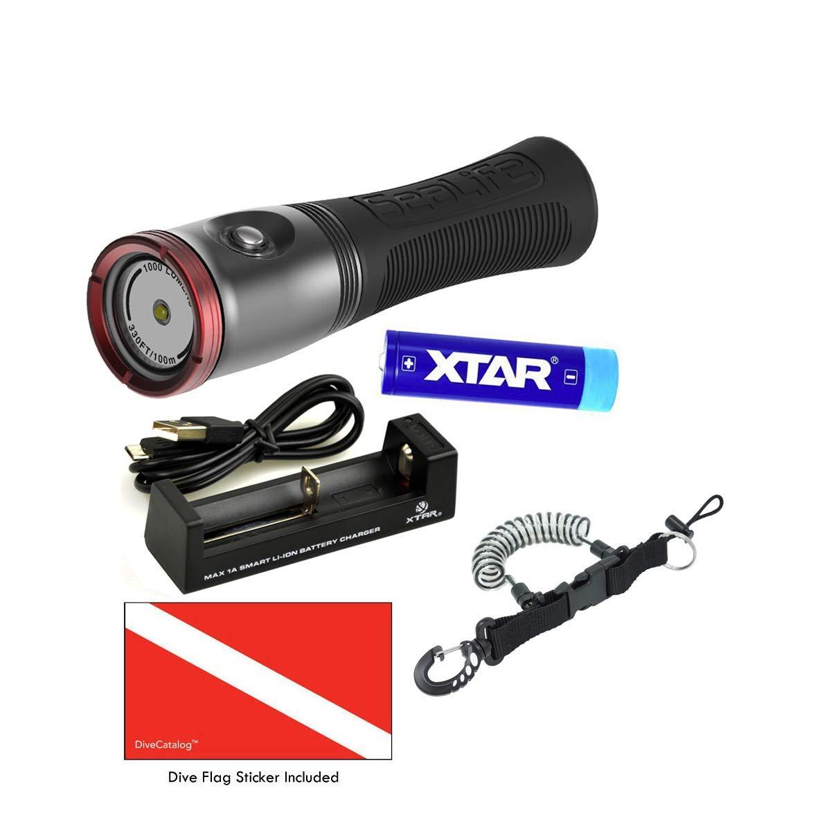 SeaLife Sea Dragon 1000F Photo/Video Light Head Power Kit (SLKITO7 w DiveCatalog's Coil Lanyard and Sticker)