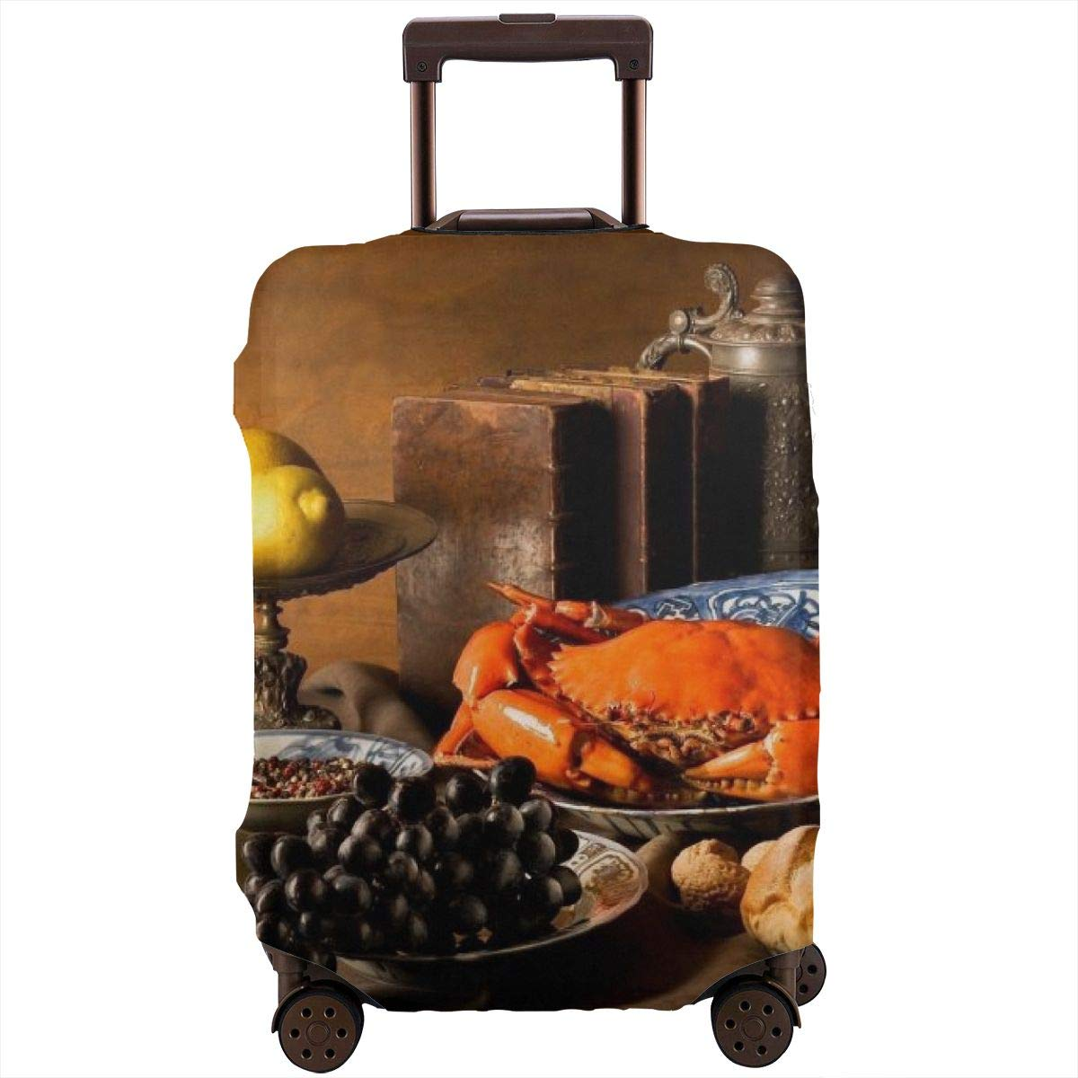 Yuotry Travel Luggage Cover Crab Meal with Wine Zipper Suitcase Protector Luggage with Fixed Buckle Fits 18-32 Inch Luggage XL
