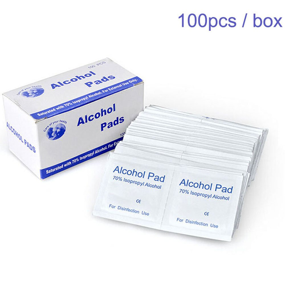 (100 pcs/Box) Hearing Aid Cleaning Wipes Disinfectant Towelettes Individually Packaged Alcohol Pads 70% Isopropyl Alcohol