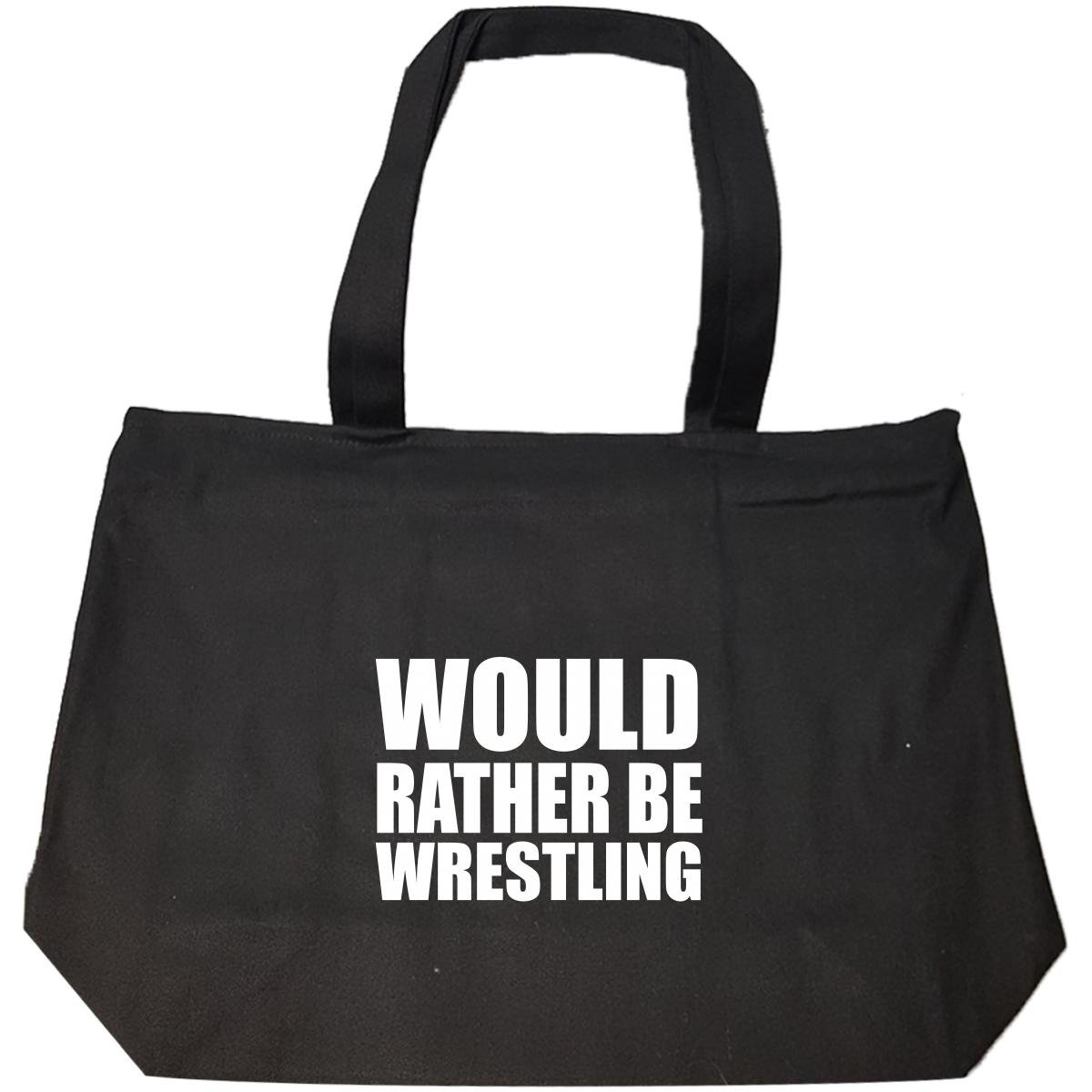 Would Rather Be Wrestling - Tote Bag With Zip by Brands Banned