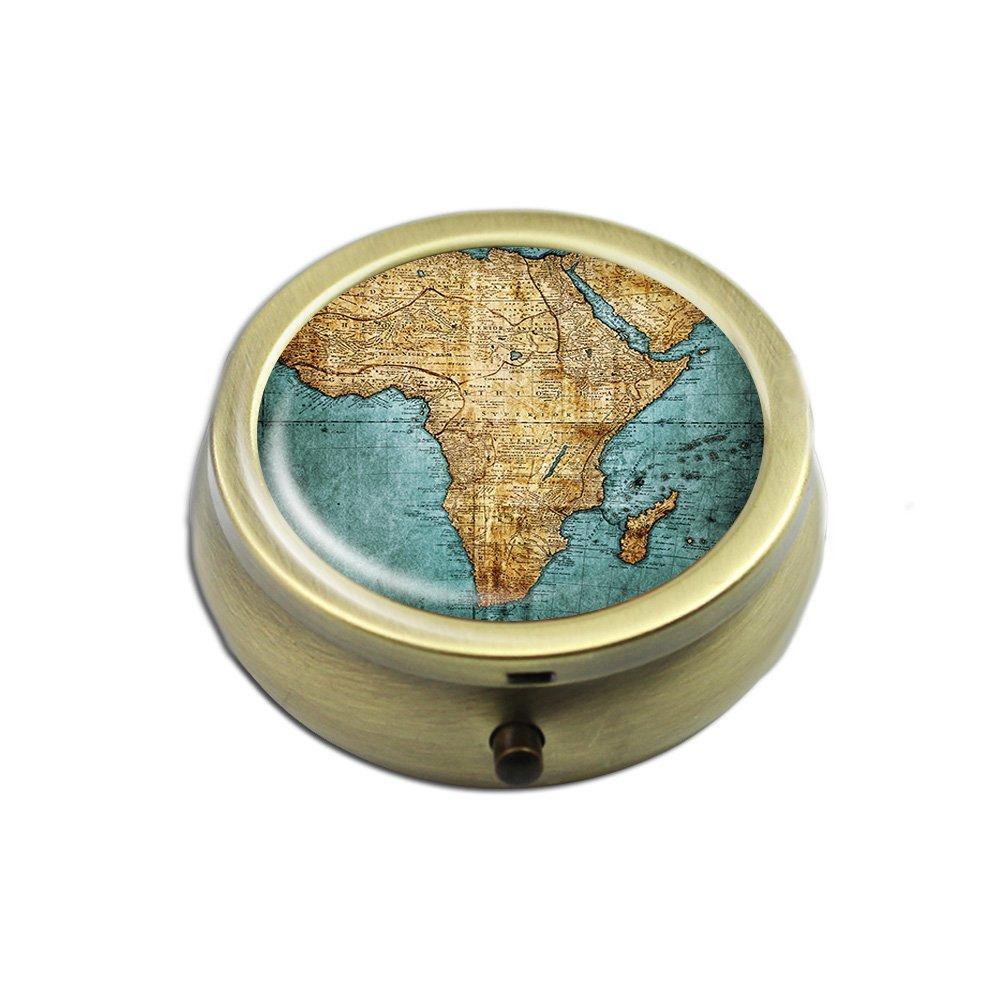 Pill Box - Cheliz Compact 3 Compartment Medicine Case, Pill Box for Pocket or Purse(World Map)