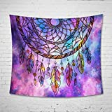 Ombre Purple Tapestry Galaxy Dream Catcher Wall Hanging – Uphome Light-weight Polyester Fabric Wall Decor (60″H x 80″W, Ombre Purple)