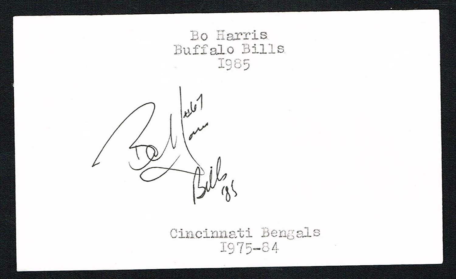 bo harris signed autograph auto 3x5 index card football lsu