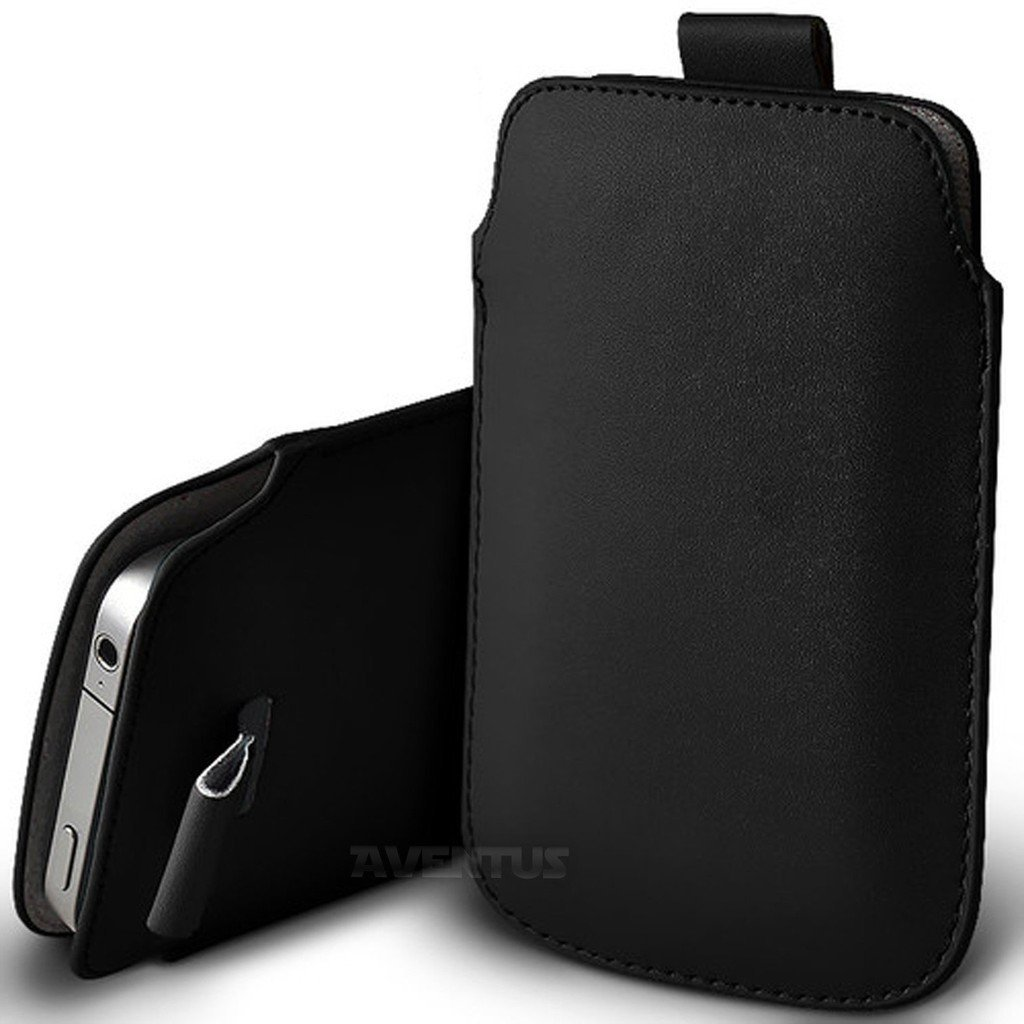 For Samsung Galaxy S10e Durable Protective Pouch Sleeve Faux Leather Case Cover with Easy Access Pull Tab Cord Slip In Black DOT