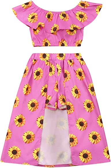 Pant Skirt 3PCs Toddler Kid Girl Sunflower Print Off Shoulder Crop Top Bowknot Headband