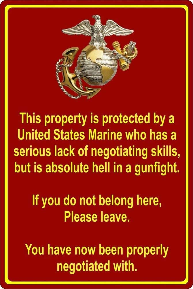 John Knorr Vintage Tin Sign,12x16in,Property Protected by Marine USMC Marine Corps - Tin Wall Sign Retro Iron Painting Vintage Metal Plaque Decoration Poster for Bar Cafe Store Home Yard