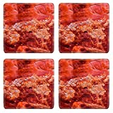 MSD Square Coasters Non-Slip Natural Rubber Desk Coasters design 20887744 Red Rock Canyon Abstract Devils Garden Arches National Park Moab Utah USA Southwest Lichens on red canyon walls create ma
