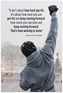 Rocky Balboa Motivational Quote Boxing Poster Classic Movie Canvas Bedroom Wall Decor Print Offices Dorm Room Decor Gifts 24×36inch(60×90cm) Unframe-style1