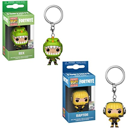 Funko Pocket POP! Games Fortnite: Rex and Raptor Keychain Key Chain Toy Action Figures - 2 Piece Bundle