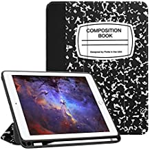 Fintie iPad 9.7 2018 Case with Built-in Apple Pencil Holder - [SlimShell] Lightweight Soft TPU Back Protective Cover w/Auto Wake Sleep for Apple iPad 2018 9.7 Inch (6th Gen), Composition Book Black