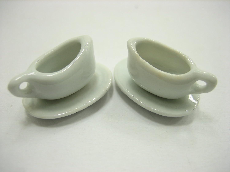 2//4 Ceramic White Mini Gravy Milk Boat Plate Saucer Dollhouse Miniatures 12680