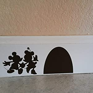 "YttBuy Mouse Decals Mouse Hole Decals for Walls Peel and Stick Wall Decals Stickers Mouse Couple with Their Mouse House Wall Decal Mouse Hole Wall Sticker (9.7"" x 4"", Black, Set of 2)"