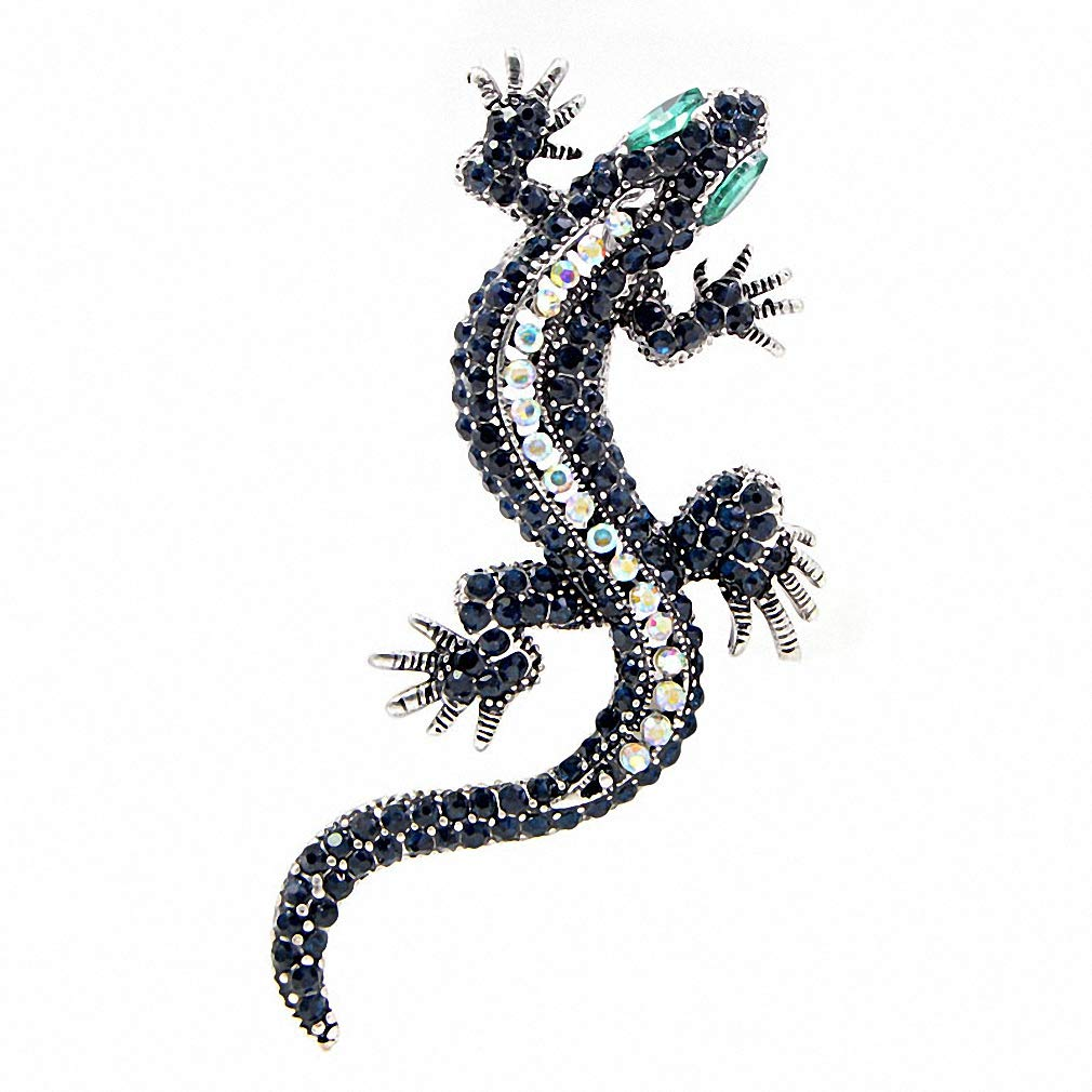 Jana Winkle Rhinestone Lizard Brooch Dark Blue ColBody Green Eye Gecko Brooches Vintage Pin Gift Silver Green