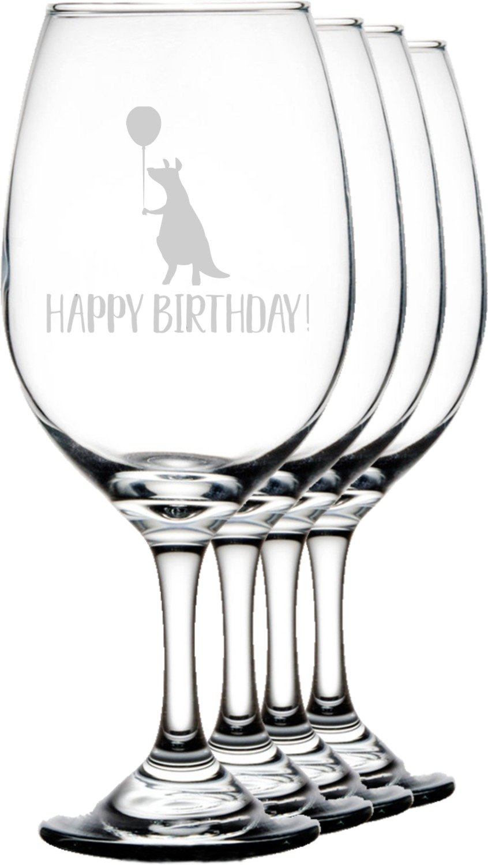 Animal Friend Birthday Wineglasses (Set of 4) (Personalized)