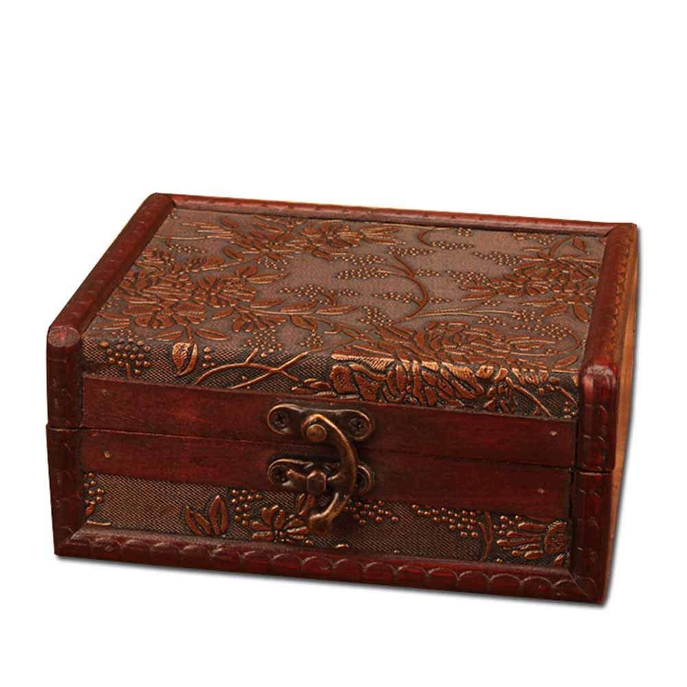 Feking Caso De Joyero Caja De Regalo De Madera De Estilo Vintage Mujeres Hecha A Mano Diseño Retro con Candado