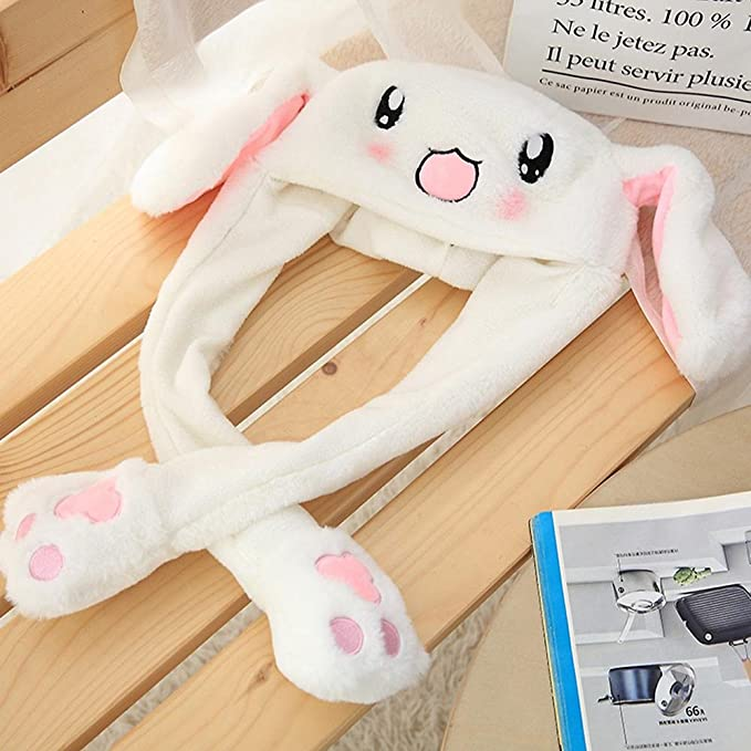 b235ea5509ae Unisex Rabbit Ear Hat Pinch The Paw Ears Will Move Plush Rabbit Hat Move  Airbag Magnet Cap Rabbit Hat Pressing Ears Will Stand Up Funny Toys for  Kids  ...