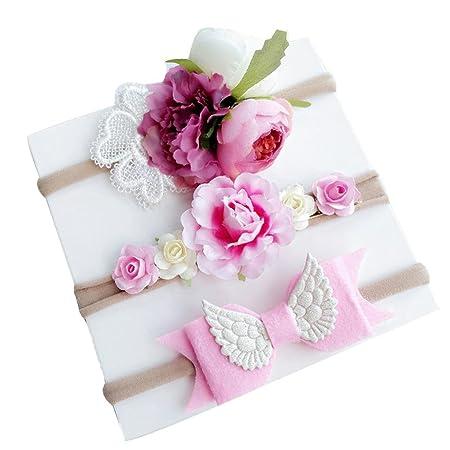 ... Nacidos 3pcs Moda Lindo Flores Diademas Niñas Elástica Banda Para El Pelo Cintas de pelo Bebe Niña Bautizo Cinta Para Bebé (Blanco): Amazon.es: Belleza