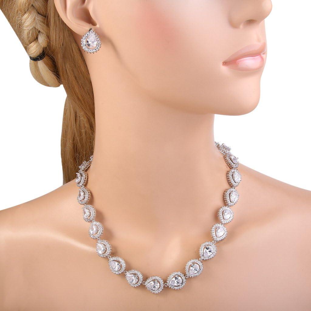 EVER FAITH Womens Full Zircon Lots Teardrop Wedding Necklace Stud Earrings Set Silver-Tone
