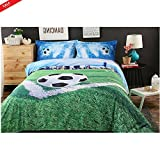 Soccer Goal Cover Set Boys Bedding Painted Sports Theme Full Size 4 Pieces Cotton Teens Ball Lovers Comforter Decorative Room Perfect for Gift & eBook by BADA shop