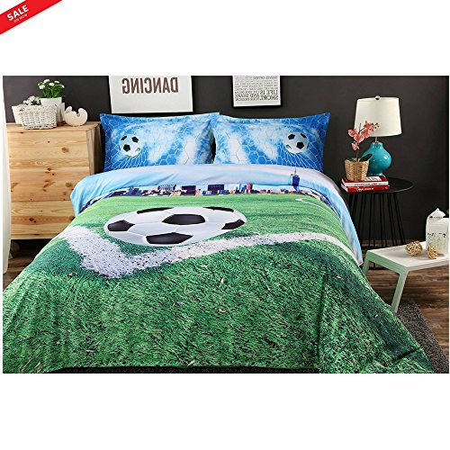 Soccer Goal Cover Set Boys Bedding Painted Sports Theme Full Size 4 Pieces Cotton Teens Ball Lovers Comforter Decorative Room Perfect for Gift & eBook by BADA shop by BS