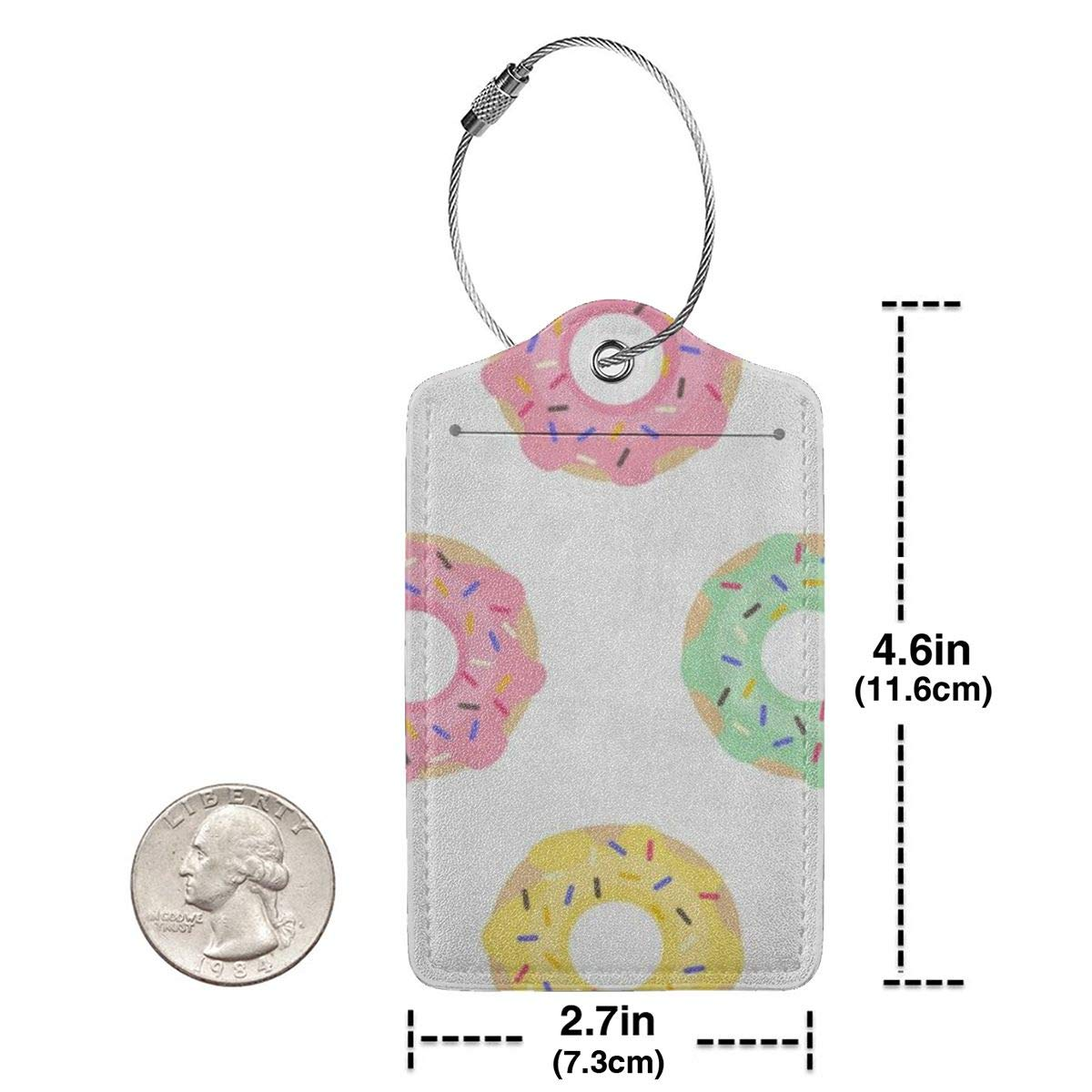 Cute Donuts Leather Luggage Tags Personalized Suitcase Tag With Adjustable Strap