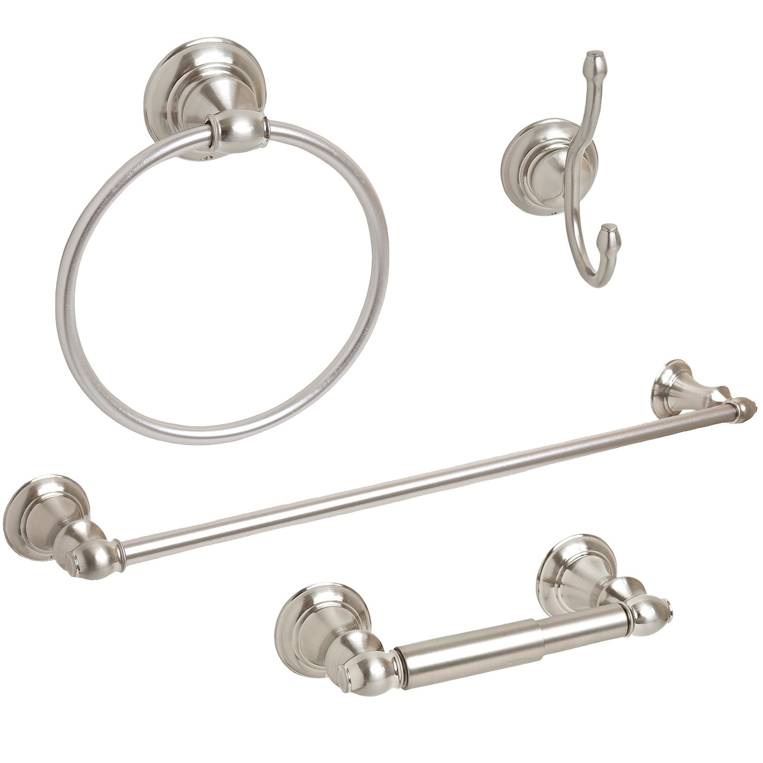 "4-Piece Bathroom Hardware Accessory Set With 24"" Towel Bar - Brushed Nickel"
