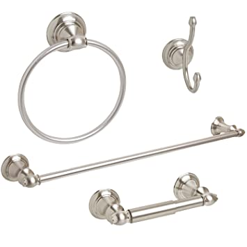 4 Piece Bathroom Hardware Accessory Set With 24u0026quot; Towel Bar   Brushed  Nickel