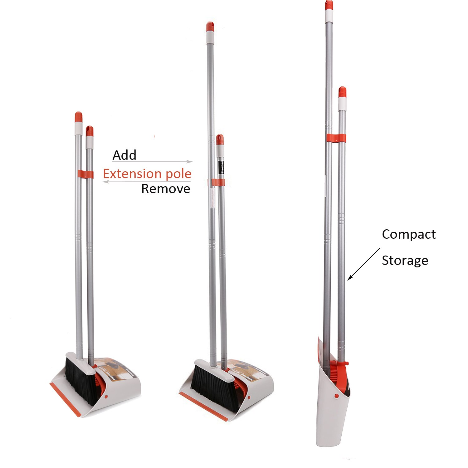 TreeLen Dust Pan and Broom//Dustpan Cleans Broom Combo with 40//54 Long Handle for Home Kitchen Room Office Lobby Floor Use Upright Stand up Dustpan Broom Set