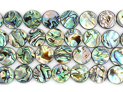18mm Natural Abalone Shell Flat Coin Beads Strand 16