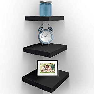 Sorbus Wall Mount Corner Shelves, Square Hanging Wall Shelves Decoration, Perfect Trophy Display, Photo Frames, Home Décor, Set of 3 (Black)