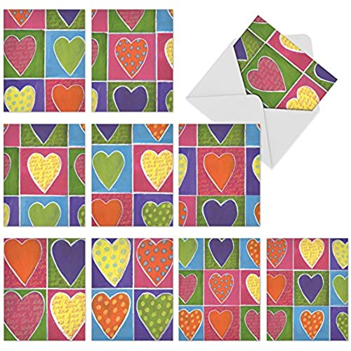 M6024 From The Heart: 10 Assorted Blank All-Occasion Note Cards Featuring Colorful Heart Art, w/White Envelopes. Sales