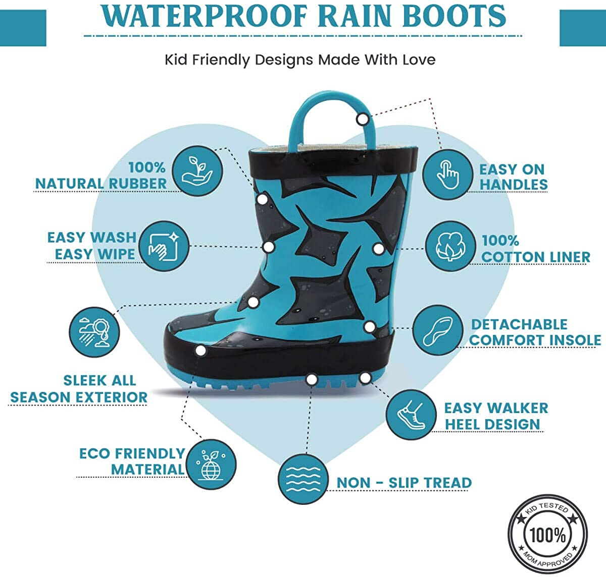 NORTY Waterproof Rubber Rain Boots for Kids Boys and Girls Solid /& Printed Rainboots for Toddlers and Kids