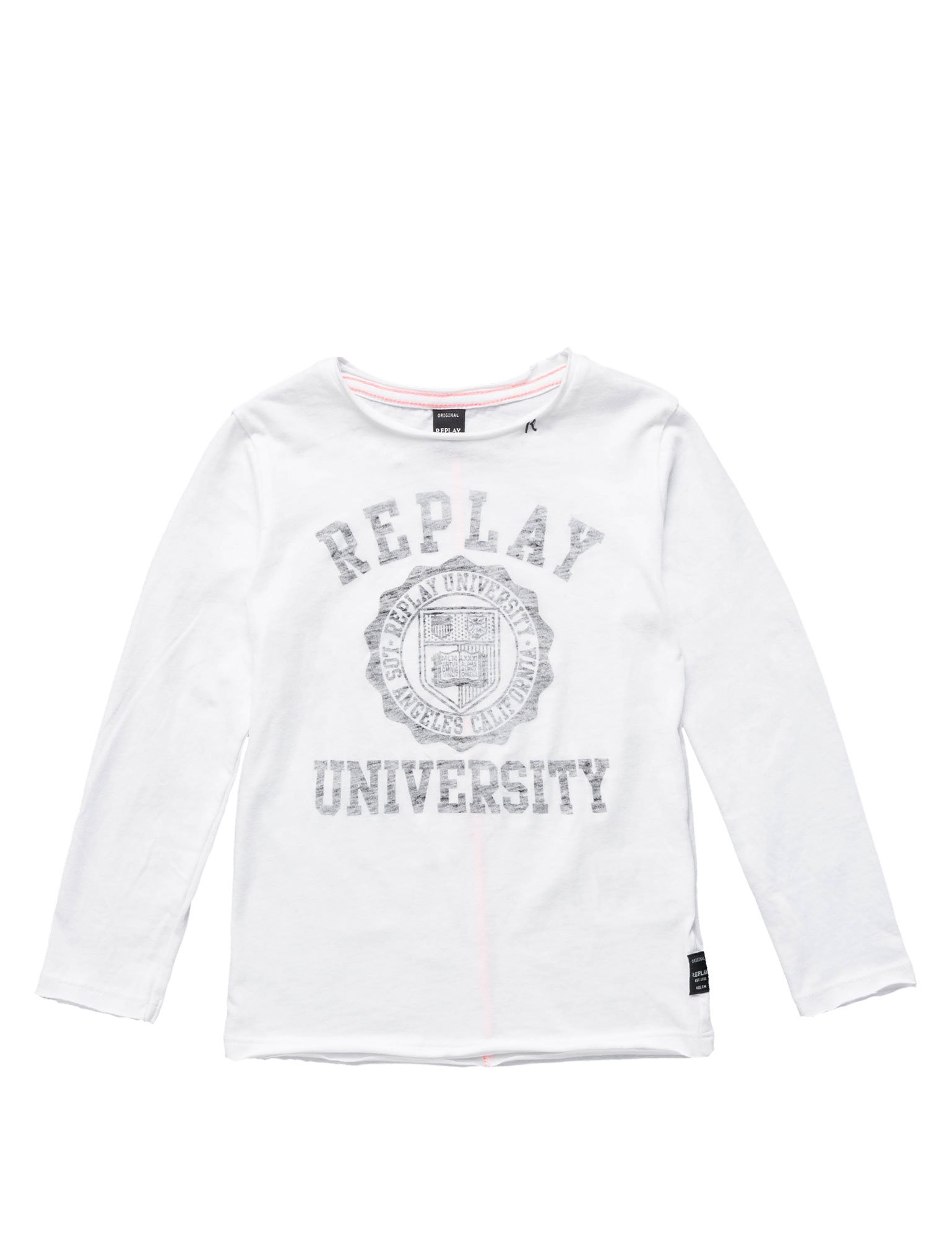 Replay Faded Print Boy's Top In White In Size 8 Years White