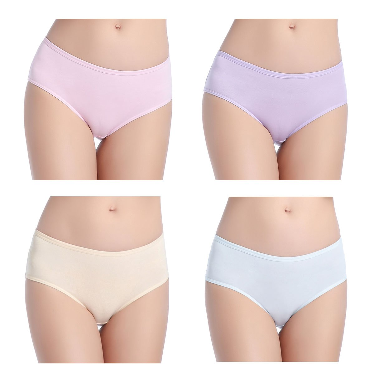 wirarpa Women's Cotton Underwear 4 Pack Low Rise Briefs Stretch Hipster Panties W-Briefs-08