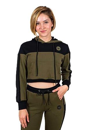c5e30f111f3 Flex-N-Flex Women's Long Sleeve Sweatshirt Crop Top Hoodie, Pullover  Sweatshirt Army