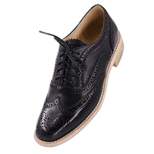 62815895118fa JARO VEGA Women's Comfort Leather Sole Perforated Lace Up Wingtip Vintage  Handmade Oxford Flats Shoes
