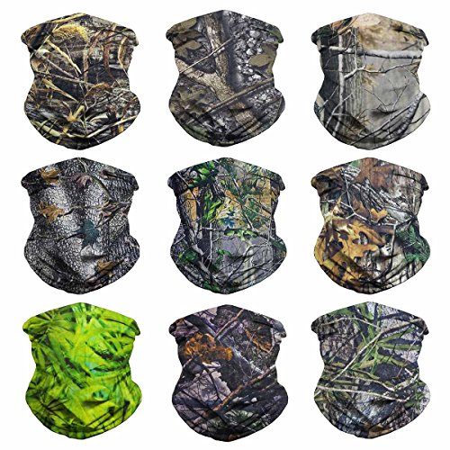 Eytan 9 Pcs Camouflage Leaves Multifunctional Headwear Camo Face Shield Neck Gaiter Scarf Wrap Headband For Hunting with UV Resistance - Magic Sports Seamless Tube Face Mask Bandana (Camo Leaves)