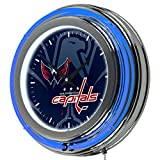 Trademark Gameroom NHL1400-WC-WM NHL Chrome Double Rung Neon Clock - Watermark - Washington Capitalsa