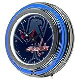 Trademark Gameroom NHL1400-WC-WM NHL Chrome Double Rung Neon Clock - Watermark - Washington Capitalsa