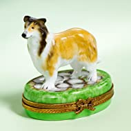 Authentic French Limoges Hand Painted Porcelain Collie on Grass Box