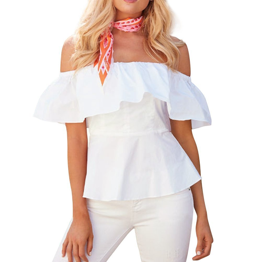Blusas de Rayas Mujer Camisetas Sin Tirantes Hombros Descubiertos Tops Moda Casual T Shirt Manga Corta Verano Elegante Pullover Tunica para Playa - Landove: ...