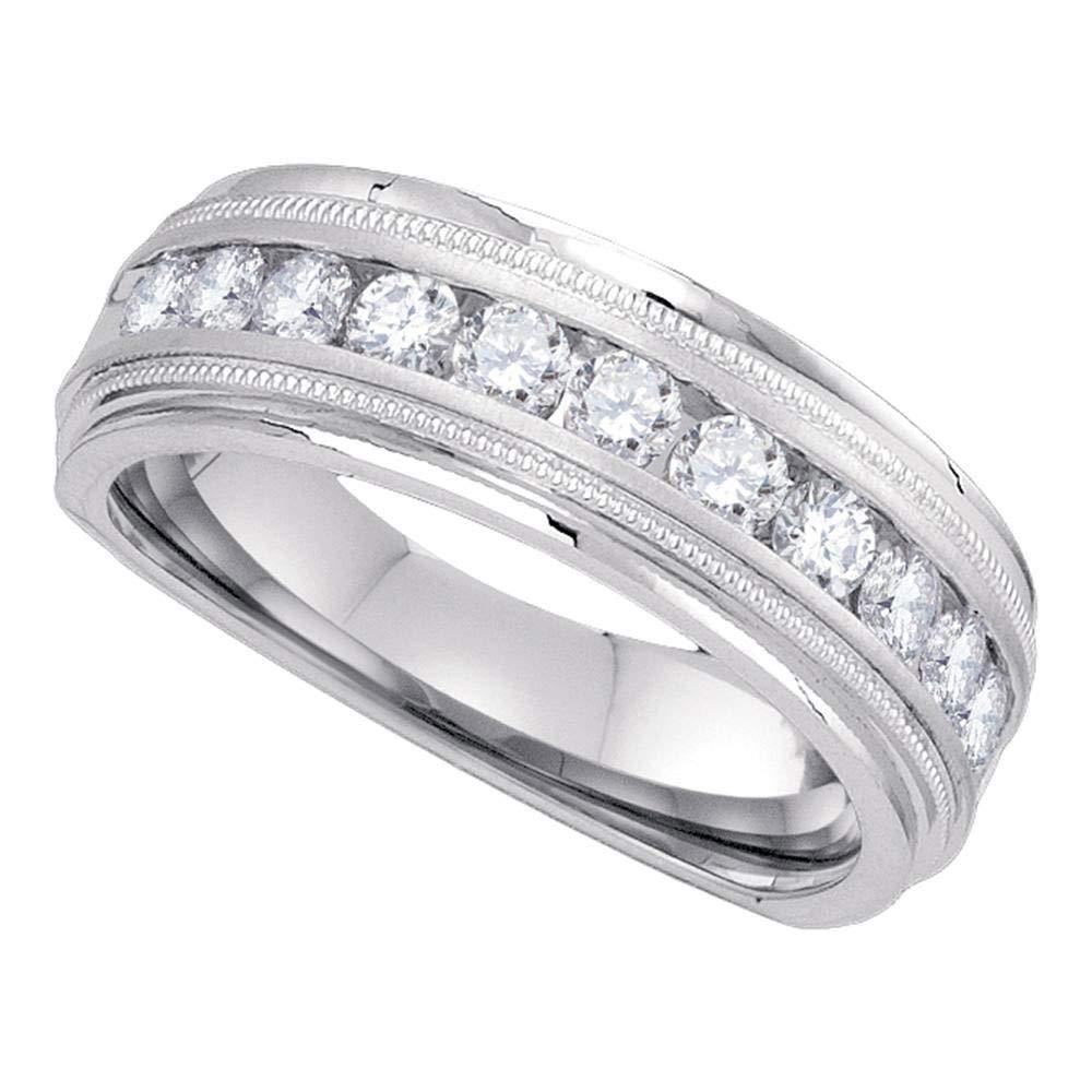 Anillo de boda de diamante redondo para hombre de oro blanco de 10 ...