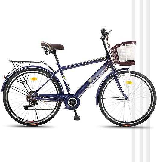 YHDP 26 Pulgadas Bicicletas De Hombre,Adultos Viajero con Guardabarros Delanteros Y Traseros Bicicletas De Carretera,Crucero Bicicleta 6 Velocidades Azul A 26inch: Amazon.es: Jardín