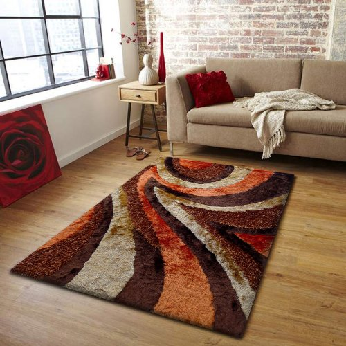 living room area rug shaggy 26 brown with orange 5 ft x 7 ft 152 in x 214 in free rug. Black Bedroom Furniture Sets. Home Design Ideas