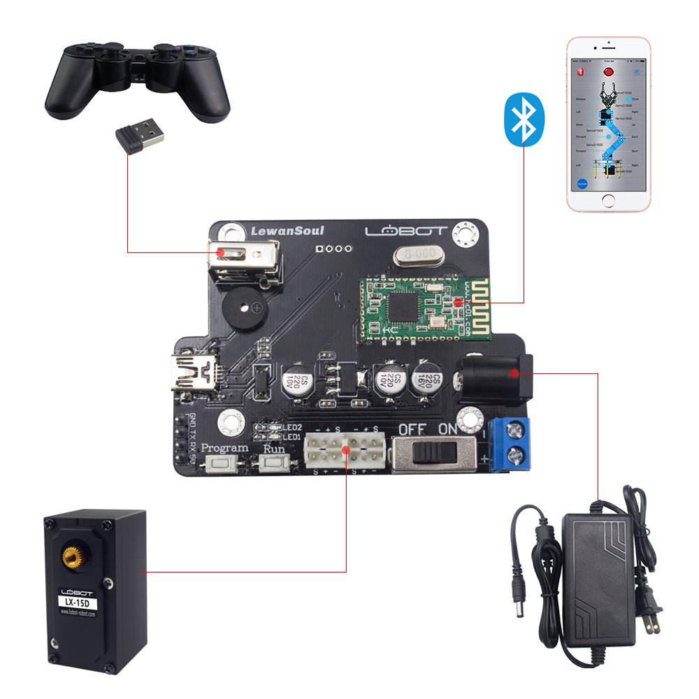 LewanSoul xArm 6DOF Full Metal Programmable Robotic Arm with Feedback of Servo Parameter, Wireless/Wired Mouse Control, Mobile Phone Programming for Arduino Scratch by Hiwonder (Image #8)