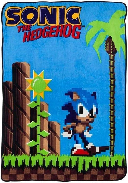 Amazon Com Surreal Entertainment Sonic The Hedgehog 16 Bit Fleece Throw Blanket Home Kitchen